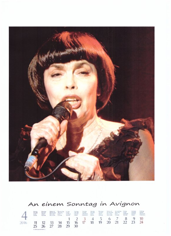 Kalender Mireille Mathieu  April 2016