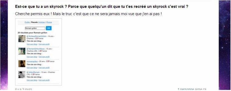 Romain Grillon n'a pas de Skyrock