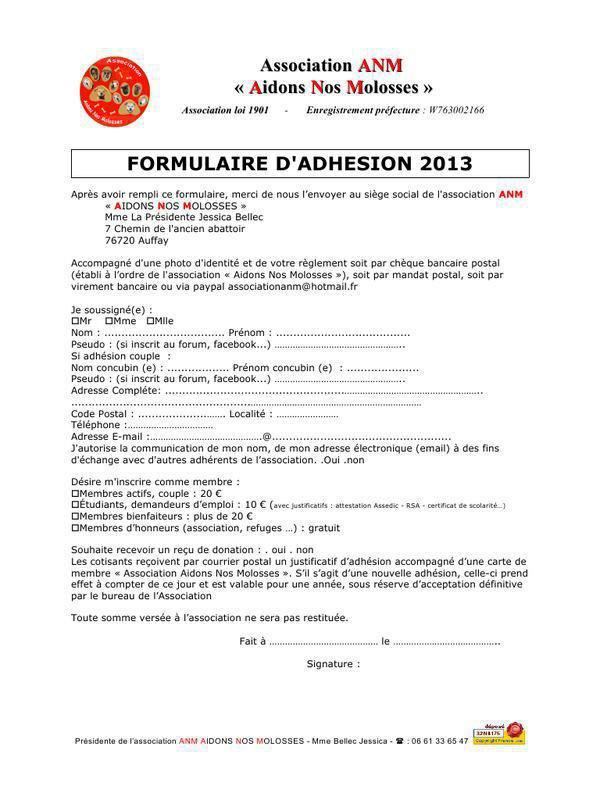formulaire d'adhésion 2013 Association Aidons Nos Molosses