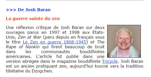 """La guerre sainte du zen"" de Josh Baran..."
