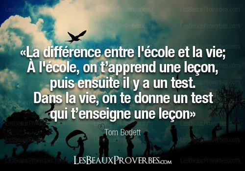 La différence entre l'école et la vie ..