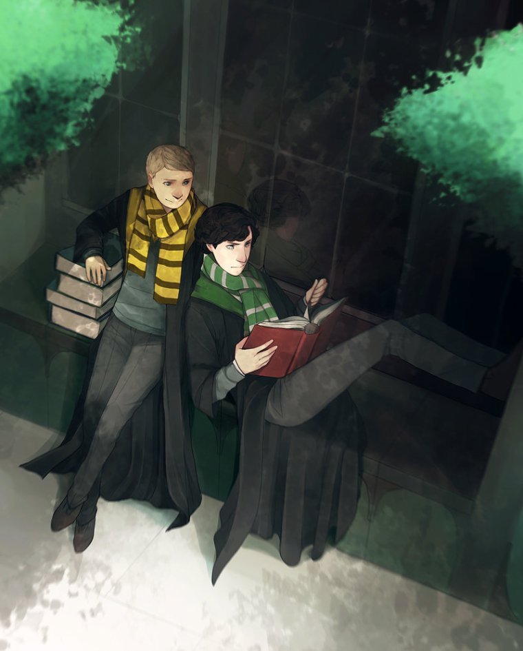 Sherlock and John at Hogwart