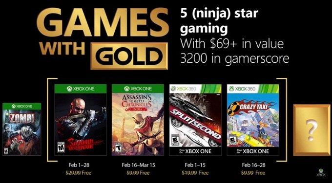 Jeux gratuits Xbox Live Games Gold pour février 2018