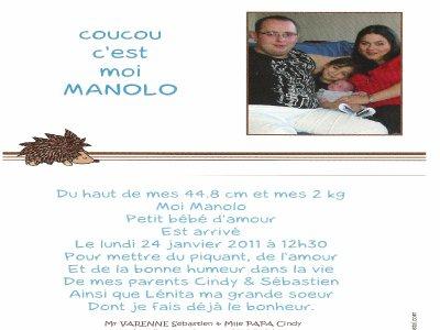 voici le faire part de notre fils Manolo on t aime fort