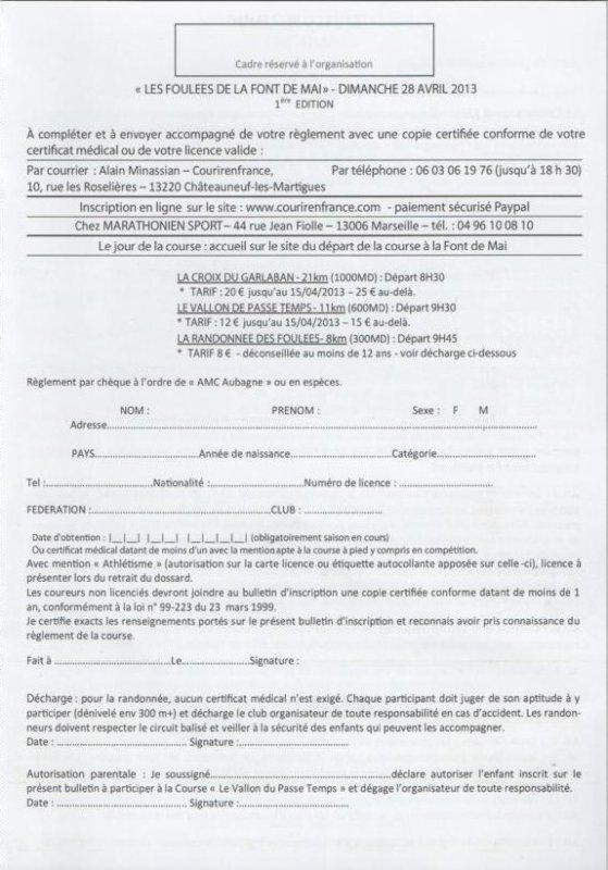 Les Foulées De La Font De Mai, 1ière Edition