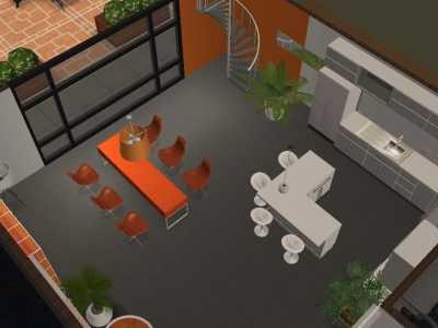 Salle à manger orange