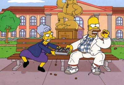 Homer contre une grand mére