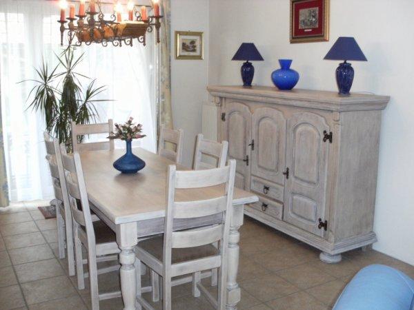 salle a manger complète restaurée et cérusée blanc naturel