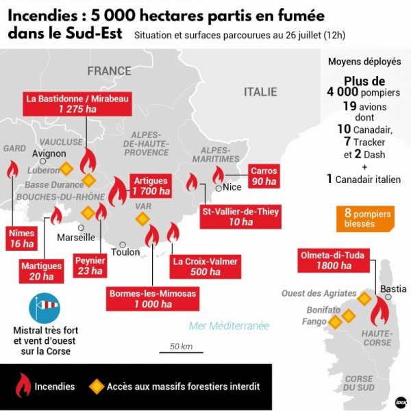 Un point général de situation des feux de forêts en cours sur la façade Méditerranéenne.