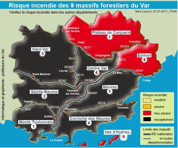Risques feux de forêt exceptionnels pour la journée du 28 juillet, départements 13 et 83.