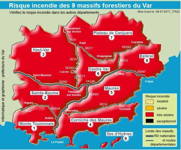 Risques feux de forêt exceptionnels, très sévères ou, sévères, pour la journée du 29 juillet, départements 13 et 83.