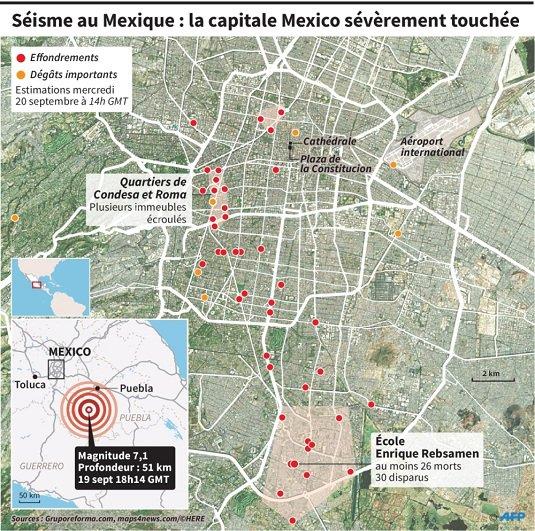 Séismes au Mexique.