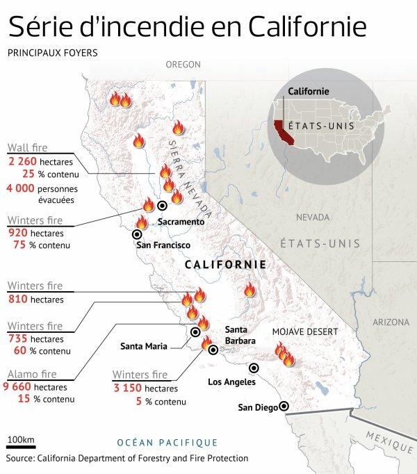 Violents feux de forêts en Californie.