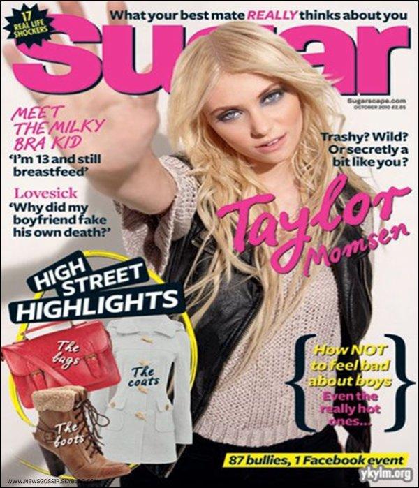 """Voici un scan de Taylor provenant de l'edition de Septembre du magasine """" Sugar """"    .    J'aurais beaucoup aimer si la photo n'aurat pas etait retoucher la elle ressemble a rien ;s  & toi ? ; )"""