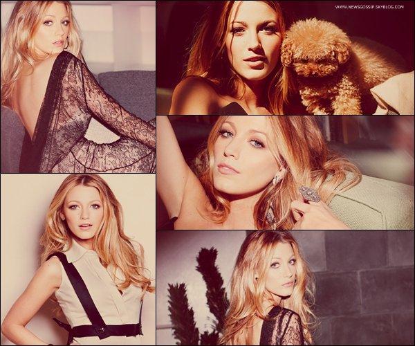 """Voici le photoshoot de Blake pour l'edition de septembre du magasine """" Marie Claire """"    .    Blake est tout simplement magnifique , j'adore ces photos et j'adore le chien de Blake il est trop mignon & toi ? ; )"""