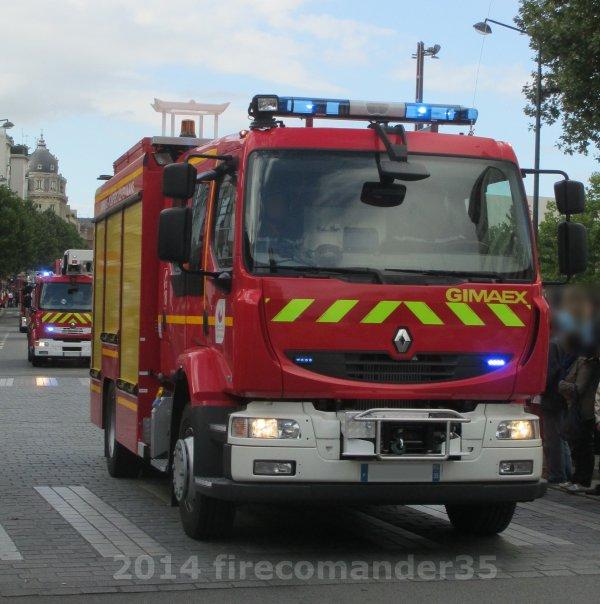 Sapeurs Pompiers D'Ille et Vilaine ( Défilé du 14 juillet Rennes 2014 )