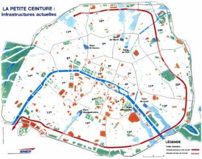 La carte de la petite ceinture de paris par la SNCF !
