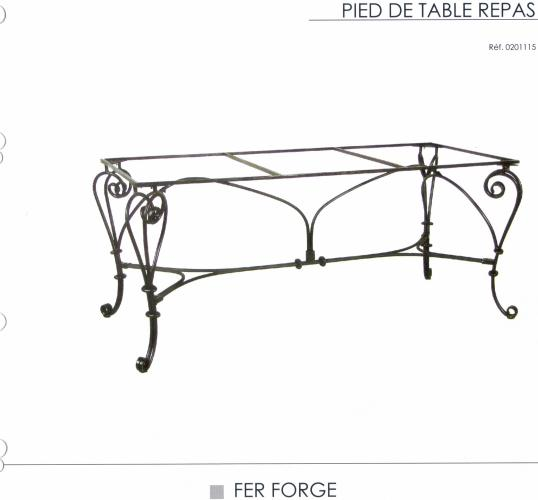 pied de table fer forge aux meubles campagnards et de style. Black Bedroom Furniture Sets. Home Design Ideas