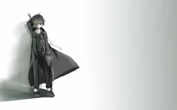 Weapons Short Hair Anime Boys Simple Background Swords White Black Sword Art Online