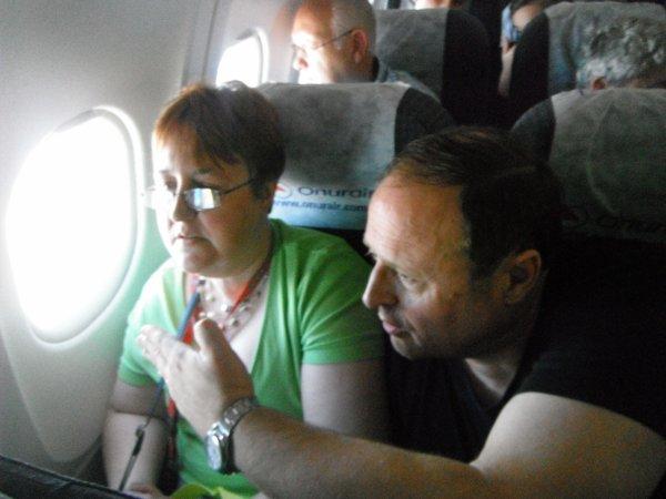 Dans l'avion pour Antalya