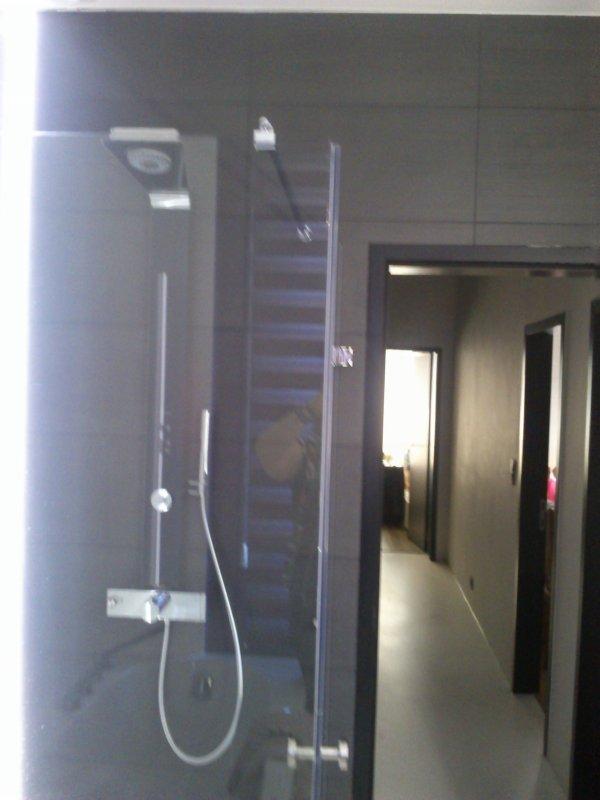 Rénovation du 1 er étage: placement de portes noires,radiateur en hauteur,douche en verre, évier,baignoire à bulles,volets violets,miroir ,sol