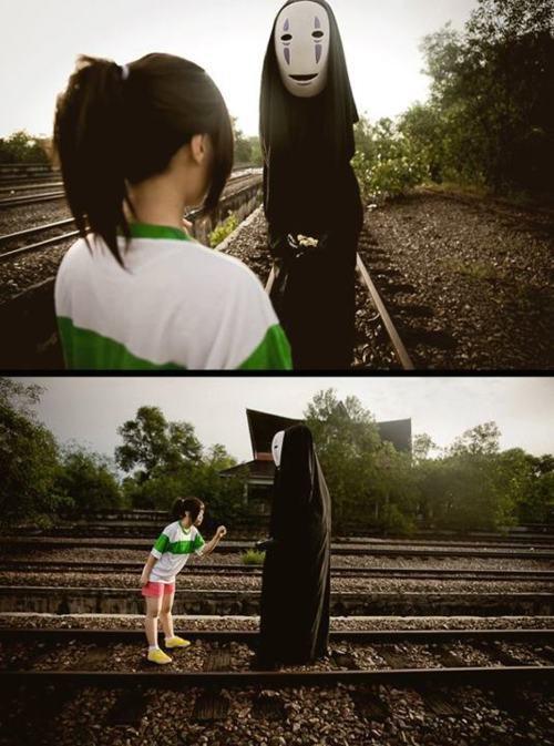 Le voyage de Chihiro - Kaonashi & Chihiro