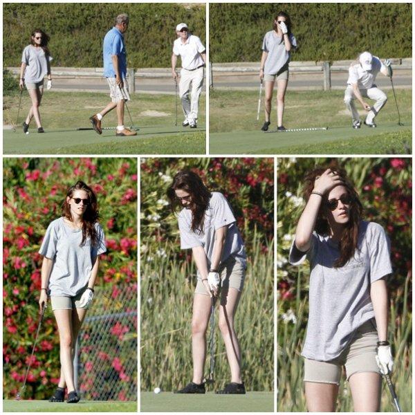 20.07.12 : Kristen jouant au golf (avec son pere)