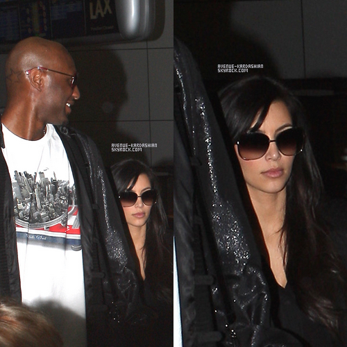 CANDIDS 04.11.11 : C'est à l'aéroport de LAX, à Los Angeles que l'on retrouve Khloe, Lamar et Kim, qui viennent d'atterrir après un court  séjours en Australie.