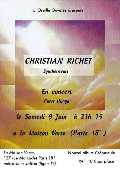 En guest le samedi 9 Juin au concert de Christian Richet à Paris à la maison verte (18°)