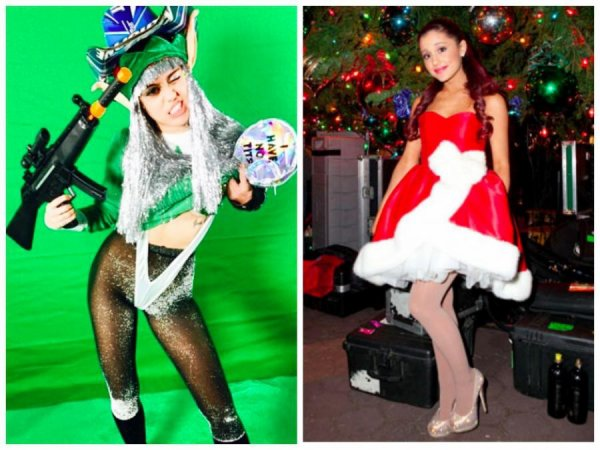 Ariana Grande VS Miley Cyrus : Qui porte le mieux le costume de Noël ??