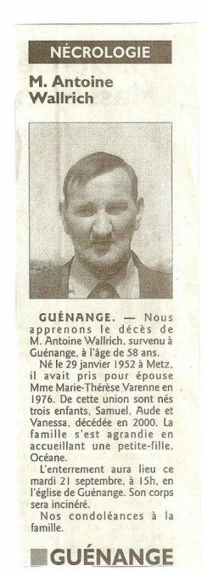 AVIS de décès d'Antoine W. - Autorisation par la famille de publier cet article.