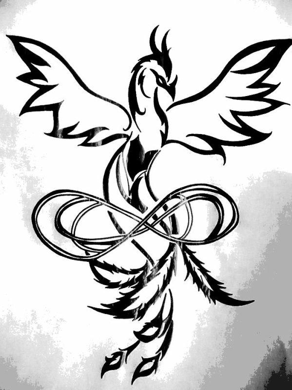 Le croquis fait par moi du tatouage que j 39 aimerais faire phoenix angel sky - Tatouage amour eternel ...