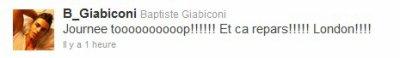 29.05.11 : Baptiste a Tweeter il y a une heure a peine qu'il retourné a Londre . Enregistrement de nouvelle chanson ? Finission de l'album ou autre ?! Qu'en pensez vous ... ?