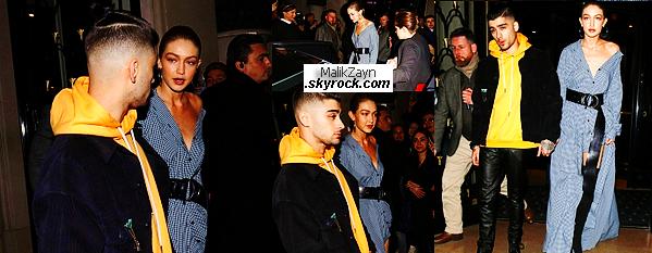"""03/03/2017 ▬ Zayn M. a été vu aux côtés de Gigi Hadid, sortant de l""""hôtel parisien le « George V» avant d'aller dîner. Nos deux tourtereaux sont encore très amoureux, il y a d'ailleurs une rumeur de fiançailles qui traîne sur internet, affaire à suivre"""