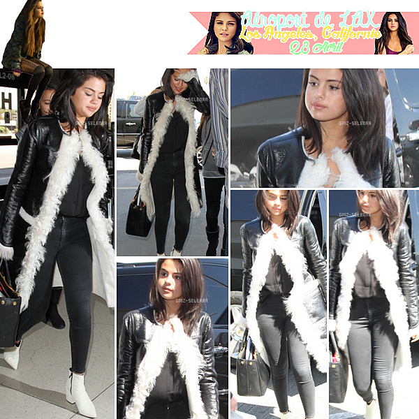 La belle Selena Gomez à l'aéroport de LAX à Log Angeles, Californie pour se rendre à Chicago encore une fois au We day qui se passera demain (30 avril 2015) . Côté tenue je n'aime pas les chaussures mais son haut et son bas sont assez jolie et simple! N'hésiter pas à donner votre avis ;)
