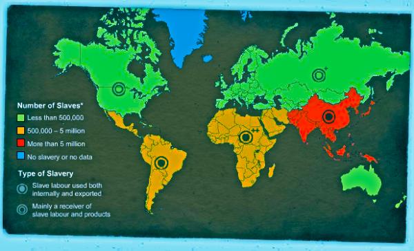 World slavery map