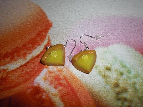 boucle d'oreille tarte au citron