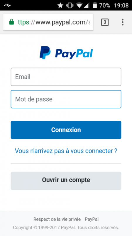 Page d'accueil Paypal