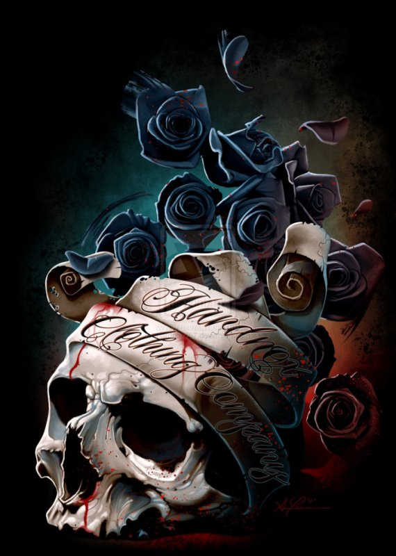 SKULL BANNER AND ROSES