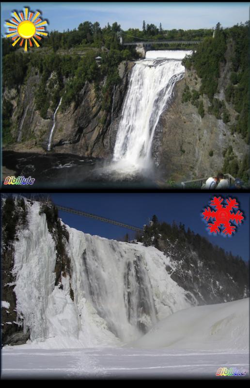 Les chutes de Montmorency au Québec