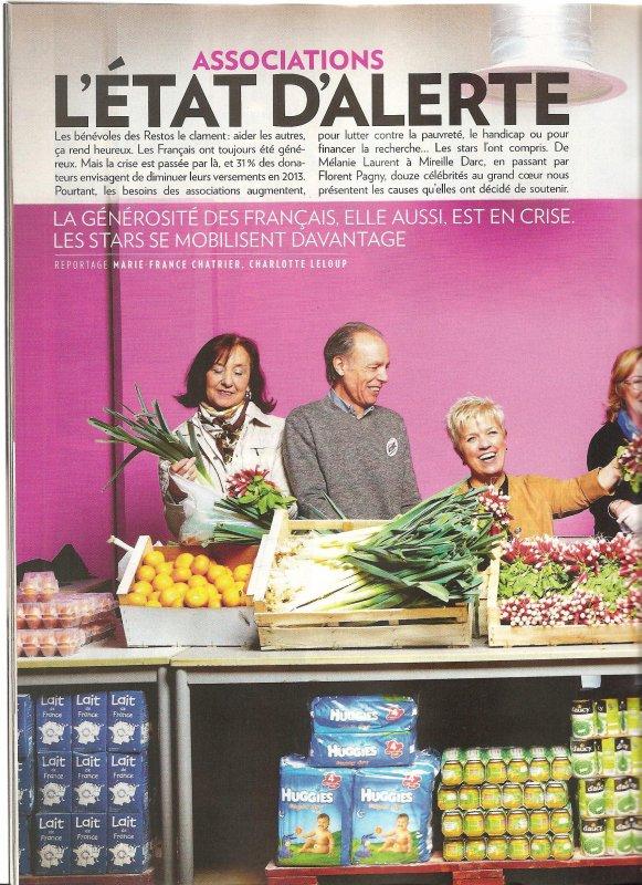 Garou dans Paris Match avec les resto du coeur 2012