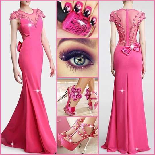 un autre modèle de robe de soirée rose