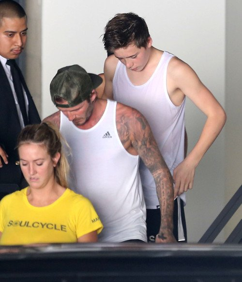 David Beckham & son fils Brooklyn