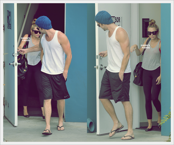 ᅠ 13 Juillet 2012 : Miley Cyrus quitte son cours de Pilates et va faire du skate avec Liam ᅠ