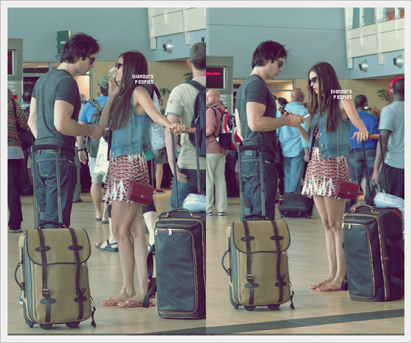 ᅠ 13 Juillet 2012 : Nina Dobrev et son petit ami Ian Somerhalder à l'aéroport de San Diego ᅠ