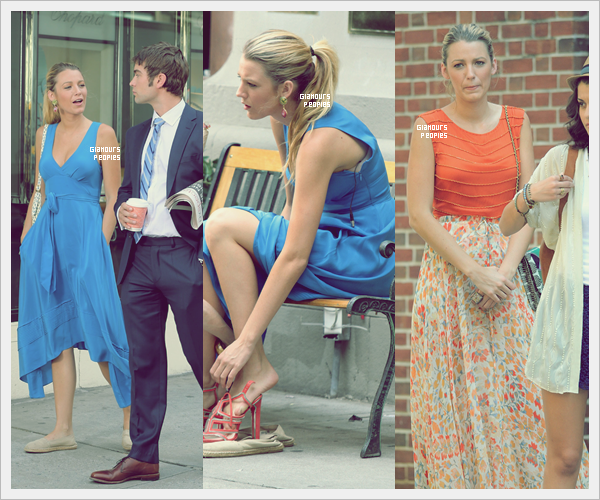 ᅠ 17 Juillet 2012 : Blake Lively sur le tournage de la dernier saison de Gossip Girl avec ses co-stars ᅠ