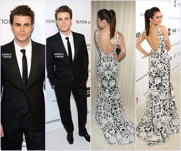 """ᅠ 24 Février 2013 : Paul Wesley & Nina Dobrev a la """"Elton John Oscar Party"""" Fondation du chanteur Elton John ᅠ"""