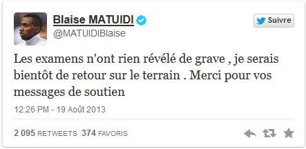 Des nouvelles rassurantes de Blaise Matuidi sur Twitter.