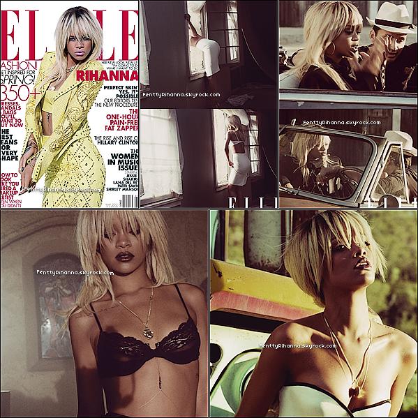.  Nous avons enfin le phosothoot pour le magazine Elle dont Rih' fait la couv' du mois de Mai. Rihanna y est sublime ! J'aime beaucoup la dernière photo.Photo MQ, qui changeront des que j'en aurais de meilleure qualité.  .