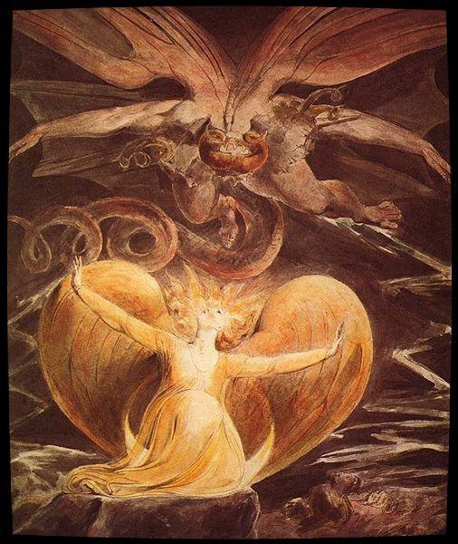 Le Grand Dragon Rouge et la Femme vêtue de Soleil   réalisées par le poète et peintre anglais William Blake entre 1805 et 18101